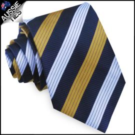 Dark Blue with White & Yellow Stripes Mens Tie