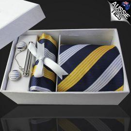 Dark Blue with White & Yellow Stripes Tie Set