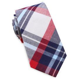 Dark Blue, Light Blue, Red & White Tartan Slim Tie