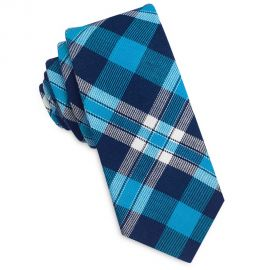 dark blue, turquoise and white tartan skinny tie