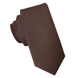 Dark Brown Cotton Blend Skinny Tie