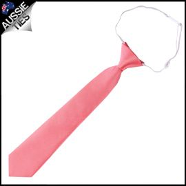 Dark Coral Salmon Junior Boys Elasticated Necktie