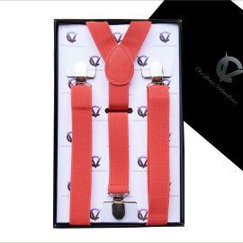 Boy's Dark Coral Salmon Braces Suspenders Y2.5cm