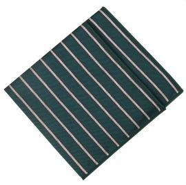 Dark Green with White Stripes Pocket Square