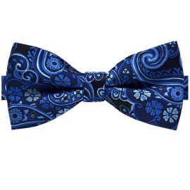 dark and light blue floral bow tie