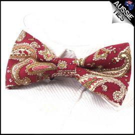 Dark Red Paisley Bow Tie