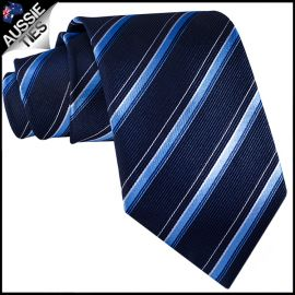 Midnight Blue with Sky Blue & White Stripes Mens Tie