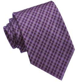 Grape & White Crosshatch Mens Tie