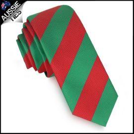 Mens Green & Red Stripes Skinny Tie