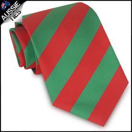 Boys Green & Red Stripes Sports Tie