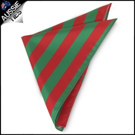Mens Green & Red Striped Pocket Square Handkerchief