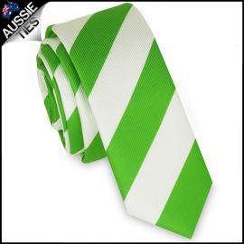 Mens Green & White Stripes Skinny Tie