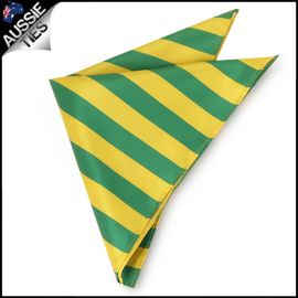 Mens Green & Yellow Striped Pocket Square Handkerchief