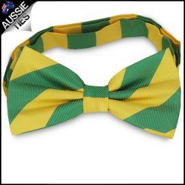 Mens Green & Yellow Stripes Bow Tie