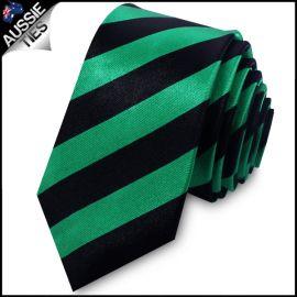 Green & Black Men's Striped Skinny Tie