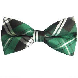 Green, Black & White Tartan Bow Tie