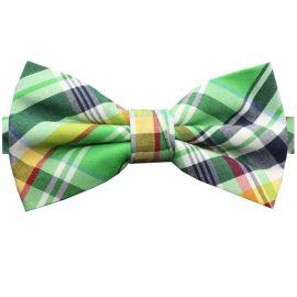 Green, Yellow, White & Red Tartan Bow Tie