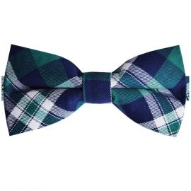 green, blue & white tartan bow tie