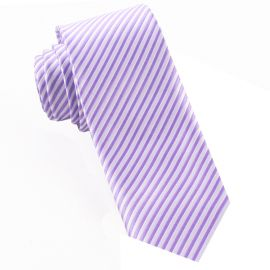 White & Dark Lavender Thin Stripes Mens Tie