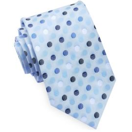 Light Blue with Blue & White Polkadots Mens Tie