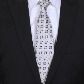 mens light silver and pink floral tie