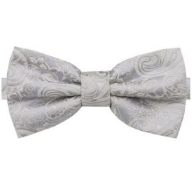 Light Silver with Ivory Paisley Bow Tie