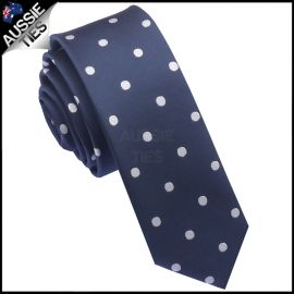 Midnight Blue Polka Dot Mens Skinny Necktie