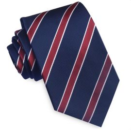 Midnight Blue Scarlet and White Stripes Mens Tie