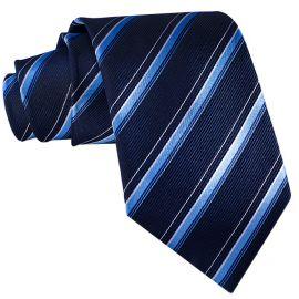 Midnight Blue with Sky Blue & White Stripes Mens Tie