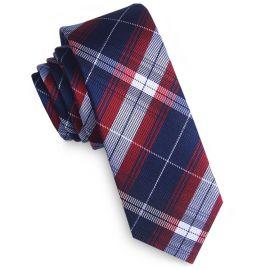 Midnight, Red & Grey Plaid Skinny Tie