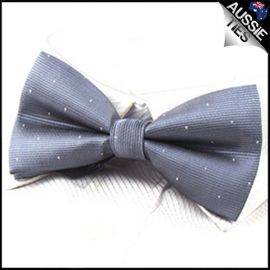 Mid Silver with small polka dots bow tie