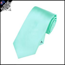 Boys Light Mint Green Tiffany Plain Necktie