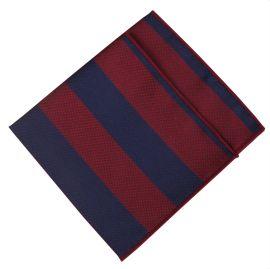 Navy & Dark Red Stripes Pocket Square