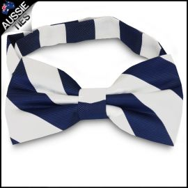 Mens Navy Blue & White Stripes Bow Tie