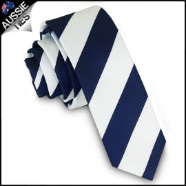 Mens Navy Blue & White Stripes Skinny Tie