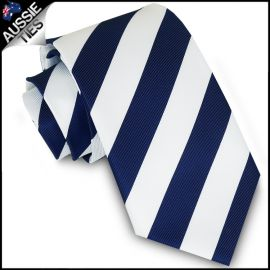 Mens Navy Blue & White Stripes Sports Tie