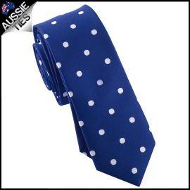 Navy Blue Polka Dot Mens Skinny Necktie