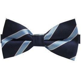 Navy Blue with Sky Blue Stripes Bow Tie