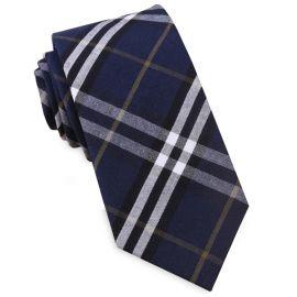 Navy Blue, Black, White & Gold Tartan Slim Tie