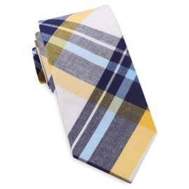 Navy Blue, Yellow & White Tartan Plaid Slim Tie