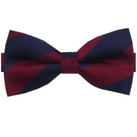 Navy & Dark Red Stripes Bow Tie