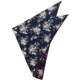 dark blue with floral pattern handkerchief