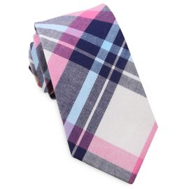 Navy, Light Blue, Pink & White Tartan Slim Tie