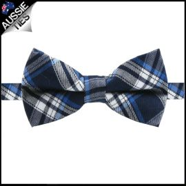 Boys Navy, Royal & White Plaid Bow Tie