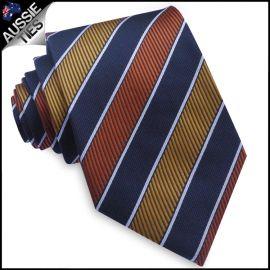 Orange, Yellow, Dark Blue & White Stripes Mens Tie