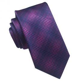 purple with blue crosshatch tie