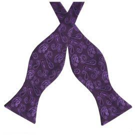 Plum Purple Paisley Self Tie Bow Tie