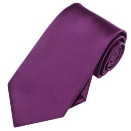 Mens Plum Grape Purple Plain Necktie