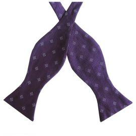 Purple & White Check Self Tie Bow Tie