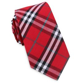 Red & White Tartan Slim Tie